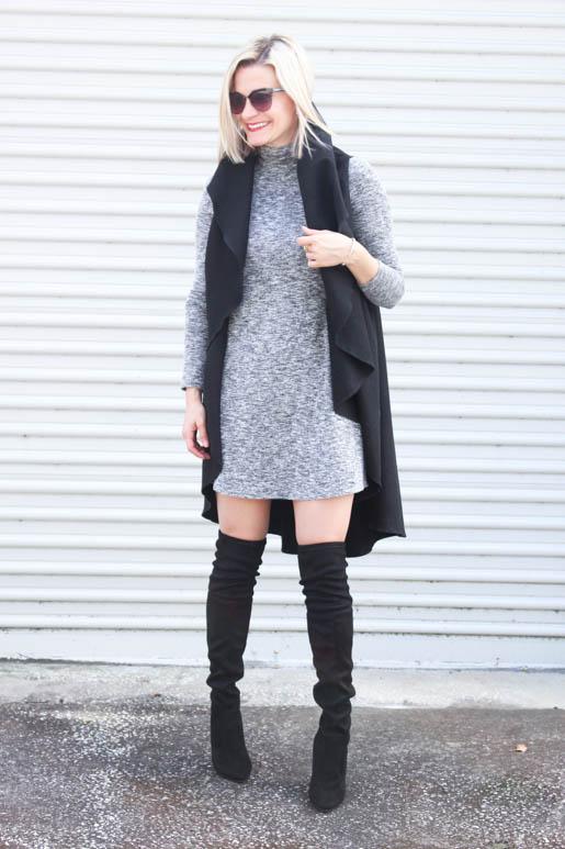 chelsey-wearing-grey-turtleneck-swing-dress-Ivanka-Trump-Boots