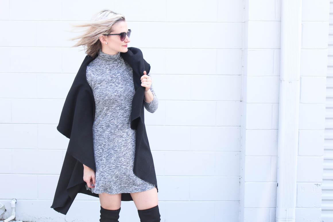 chelsey-wearing-grey-turtleneck-swing-dress