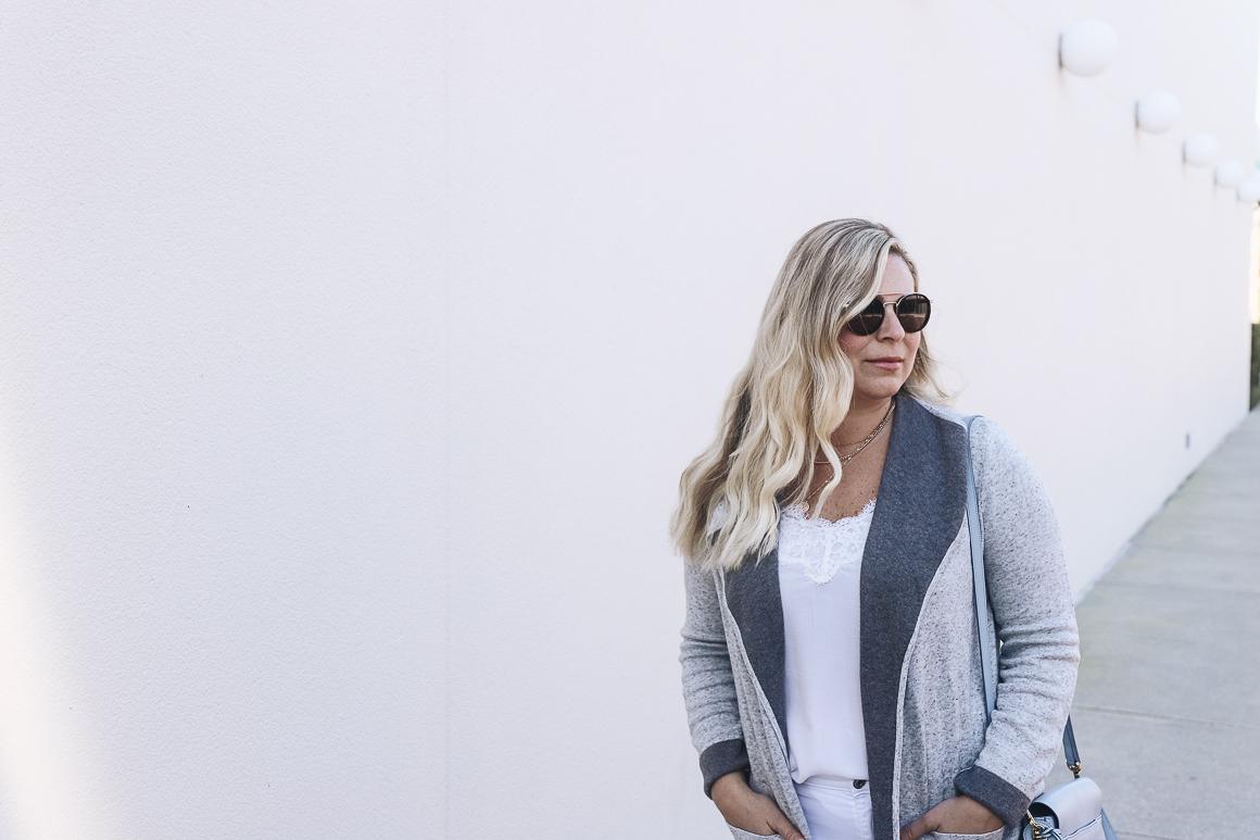 Cozy grey cardigan today on Not Necessarily Blonde